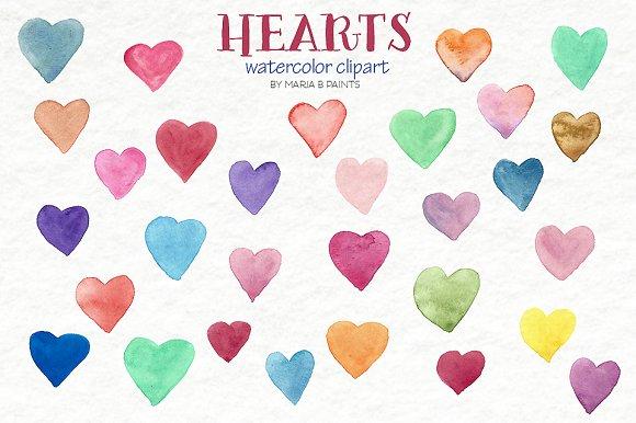 Watercolor Clip Art - Hearts