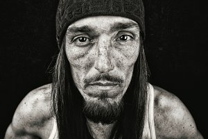 Young Homeless B&W