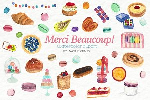 Watercolor Clip Art - Pastries