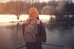 Traveler with backpack