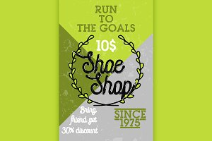 Color vintage shoe shop banner