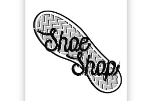 Color vintage shoe shop emblem