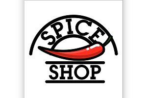 Color vintage spice shop emblem