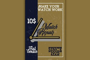 Color vintage watch repair banner
