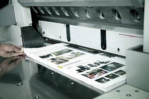Close-up of a printing machine