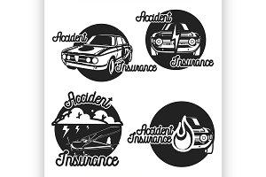 Vintage accident insurence emblems