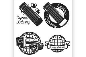 Vintage express delivery emblems