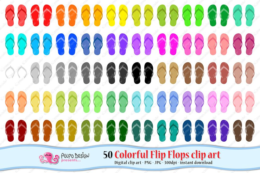 11788ca944c Colorful Flip Flops clipart ~ Graphic Objects ~ Creative Market
