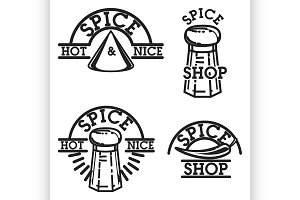 Color vintage spice shop emblems