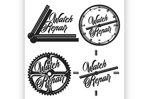 Color vintage watch repair emblems