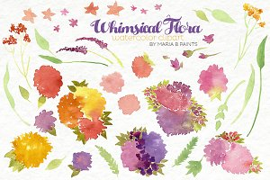 Watercolor Clip Art - Flowers