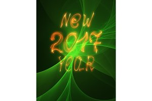 Happy new year 2017 isolated text and numbers written with flame light on bright abstract universe background