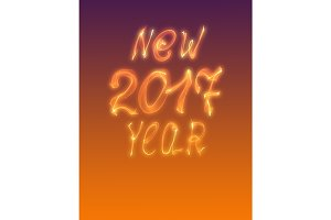 Happy new year 2017 isolated numbers written with flame light on gradient background