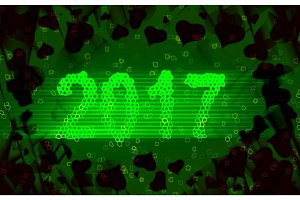 Happy new year 2017 isolated numbers written with light on black tech geometric background full of hearts