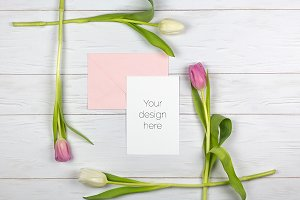 Card with Tulips on Wooden Table