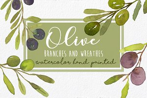 Watercolor Olives Wreaths handmade