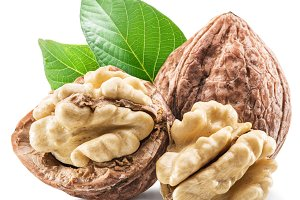 Walnuts and leavesl isolated