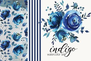 Indigo Blue Watercolor Flowers Set
