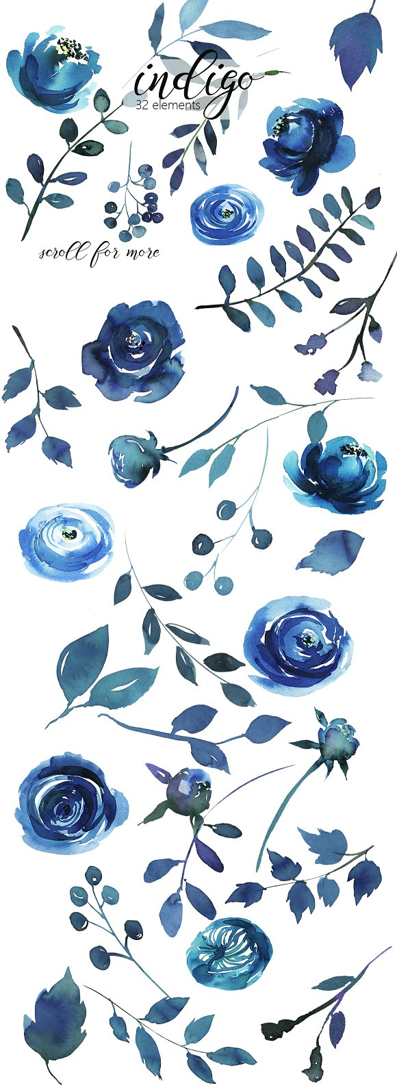 Navy Blue Watercolor Floral Border Menu Template Design