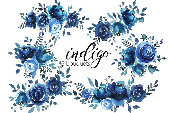 Indigo Blue Watercolor Flowers Set Illustrations Creative Market