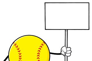 Softball Holding A Blank Sign