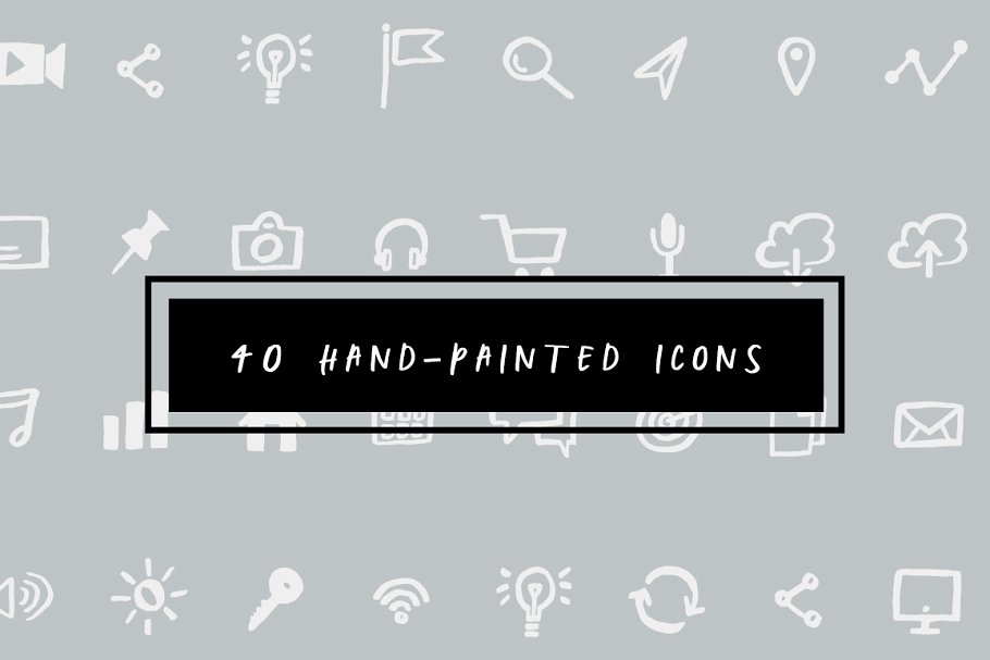 40 Hand-Painted Icons ~ Icons ~ Creative Market