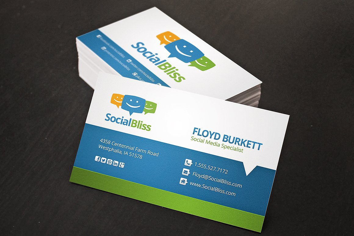 Social media business card business card templates creative market fbccfo Gallery