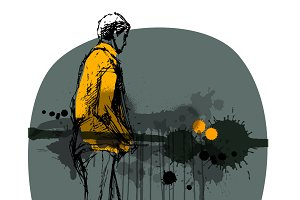boy with grunge background