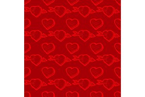 Valentines Day red seamless pattern with hearts