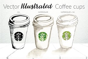 Starbucks Illustrated Cups