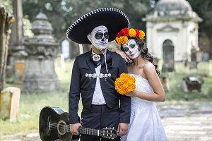 typical Mexican in a cementery.