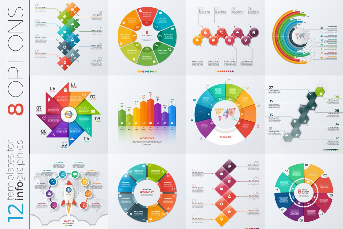 12 infographic templates 8 options presentation templates