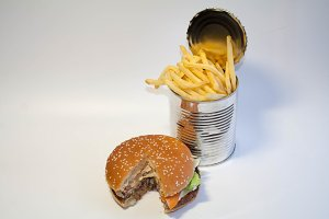 Great burger and cans with fries