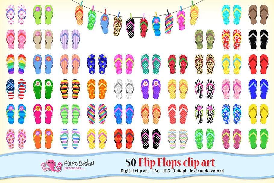 f0b164685231 50 Flip Flops clipart ~ Graphic Objects ~ Creative Market