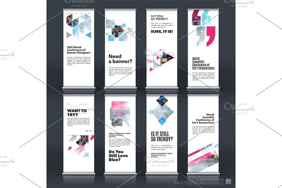 Mega set. Abstract business vector set of modern roll Up Banner