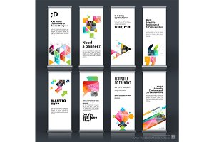 Mega set. Abstract business vector set of modern roll Up Banner