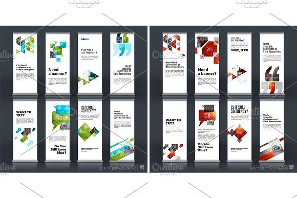 Mega set. Abstract business vector set of modern roll Up Banner  in Illustrations