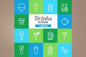 Outlined drinks icons