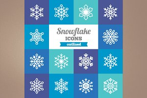 Outlined snowflake icons