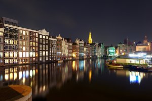 Night Amsterdam typical houses, Netherlands