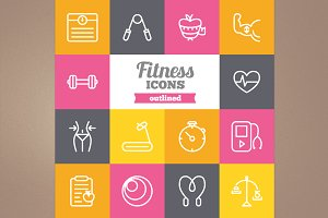 Outlined fitness icons