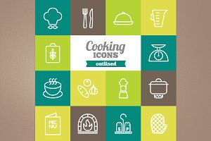 Outlined cooking icons