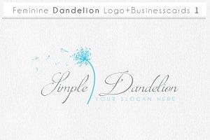 Feminine Dandelion logo businesscard