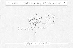 Feminine Dandelion logo+businesscard