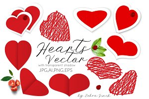 Red Vecror Hearts