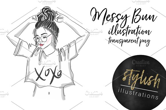 messy bun girl illustrations creative market