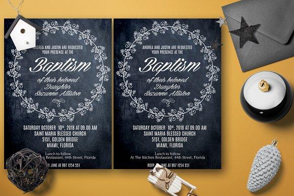 Chalkline Baptism Heart Invitation