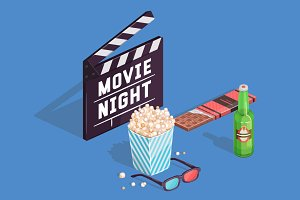 Movie night. Isometric illustration.
