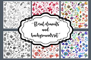 Floral elements and backgrounds set.