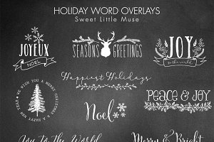 Digital Word Overlays Christmas